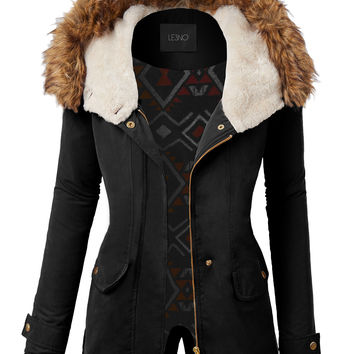 LE3NO Womens Cozy Sherpa Lined Anorak Military Hoodie Jacket with Pockets