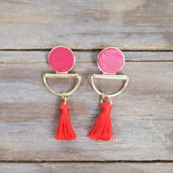 Geometric Mini Tassel Post Earring