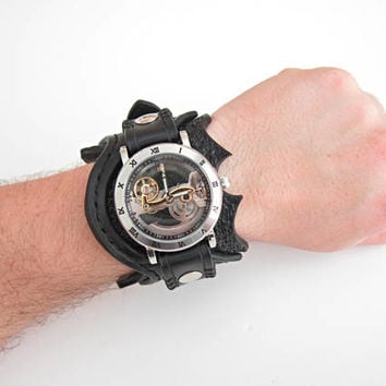 Steampunk Leather Watch, Transparent Watch, Watch, Black Leather Watch