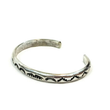 Native American Stamped Sterling Cuff, Skinny Silver Bracelet, Sun Rays Mountain Ranges, 1970s Vintage Navajo Southwestern Jewelry