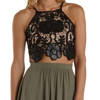 Black Faux Leather & Lace Crop Top by Charlotte Russe