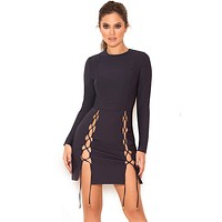 Belezza Navy Lace Up Bodycon dress