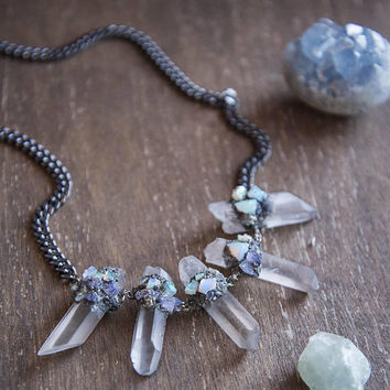 MERMAID QUARTZ BIB - Statement Necklace - Raw Clear Quartz Crystal, Boho Chic, Crushed Pyrite, Ethiopian Opal, ChunkyNecklace, Raw Gemstone