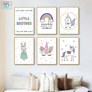 SPLSPL Nordic Decoration Home Cartoon Unicorn Rabbit Animals Wall Art Canvas Oil Painting Baby Room Decor Posters and Prints