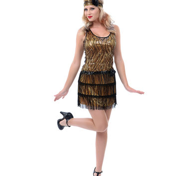 Gold & Black Sequin Fringe Broadway Flapper Costume - Unique Vintage - Prom dresses, retro dresses, retro swimsuits.