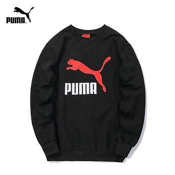 PUMA tide brand men and women classic print logo round neck pullover sweater Black