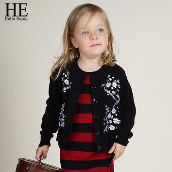 Girl Sweater Cardigan Children coat Spring Autumn Girl Outerwear Cotton Long Sleeve Flower Embroidered Cardigan