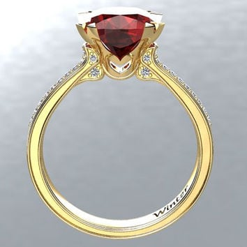 Victorian inspired 14k Yellow gold Engagement Ring Diamond Ring 2.65 ct VVS Ruby W26R14Y