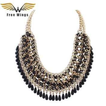 Bijoux Femme Fashion Rainbow Exaggerated Big Statement Necklaces Vintage Women Jewelry Collares Choker Necklace 10d
