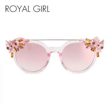 ROYAL GIRL High Quality Double Girder Cat Eye Sunglasses Women Brand Designer Vintage Sun Glasses With Diamond Oculos ss722