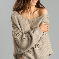 Kat Mocha Lace Up Sleeve Sweater