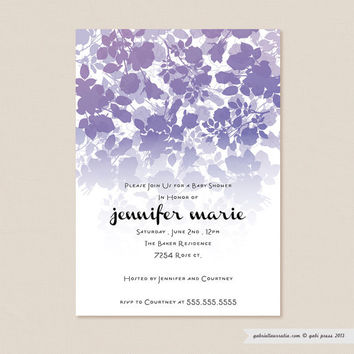 Audrey Purple  Printable Invitation 5 x 7 Card by gabipress