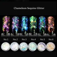 Aafke Chameleon Flakes for Nails Glitter Power Sequins Unicorn Powder Mirror Chrome Nail Powder Shinning Nail Dust 1 Box SF2034
