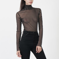 Sheer Striped Turtleneck in Black | NYLON SHOP