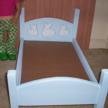 doll furniture Handcrafted American Girl doll size bed blue with white bunnies design