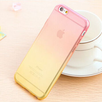 Candy Color Gradient Soft TPU Clear Transparent Phone Protector Case Cover Shell For iPhone 4 4S 5 5S SE 6 6S 6 Plus 6S Plus Pink and Yellow