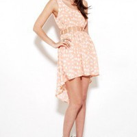 Reverse Cut Out Bird Dress in Coral at ShopAKIRA