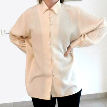 Vintage 90s off white Oversized Boyfriend Silk Shirt, Size M, Button down Blouse, Long sleeve, Women blouse, Dress Collared Shirt by Express