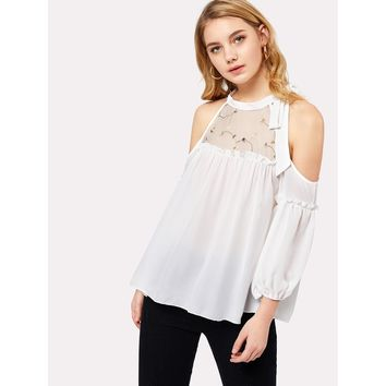 Embroidered Mesh Neck Open Shoulder Top White