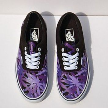 Peace Leaf Vans/Pot Leaf Vans/Marijuana Leaf  Purple Old School Skate Shoes NWOB