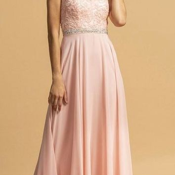 Blush Illusion Lace Bodice Long Formal Dress Cut-Out Back