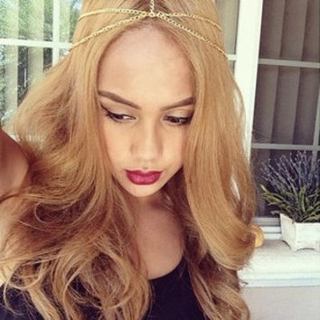 Gold Head Chain Piece Headdress Hair Accessory Jewelry