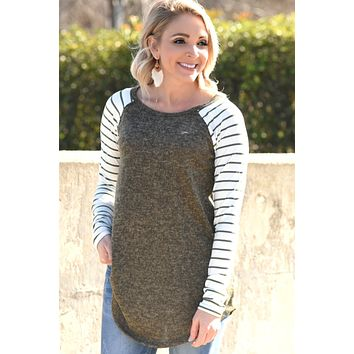 Almost Gone Striped Top - Olive