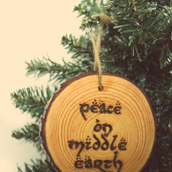 Christmas Ornament Wood Bauble Festive Log Slice Rustic Handmade Wood Burning Tree Decoration Peace on Middle Earth Lord of the Rings