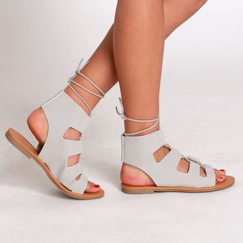 Streets Of Rome Gladiator Sandals Grey