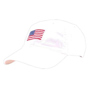 American Flag Needlepoint Hat in White by Smathers & Branson
