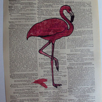 Welcome Stork  Dictionary Page Original Art Pink or Blue