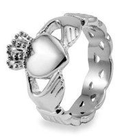 Stainless Steel Claddagh with Celtic Knot Eternity Design Ring (6 mm) - Size 7.0