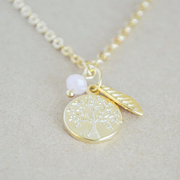 Family Tree Gold Stamped Pendant Necklace