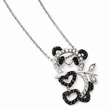 Sterling Silver CZ Panda Teddy Bear 18in Necklace