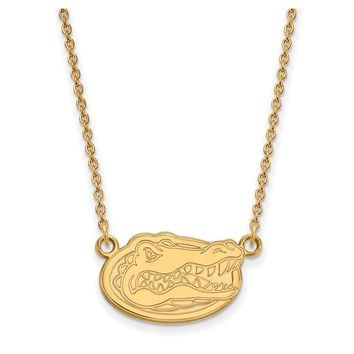 NCAA 10k Yellow Gold U of Florida Small Gator Disc Pendant Necklace