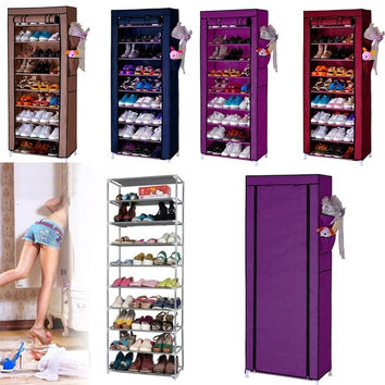 Home 10 Layer 9 Grid Shoe Rack Storage Shelf Organizer Cabinet  w/ Cover Pockets l_l = 1945939012