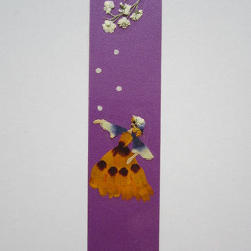 "Handmade unique bookmark""Catch the moment"" - Decorated with dried pressed flowers and herbs - Original art collage."