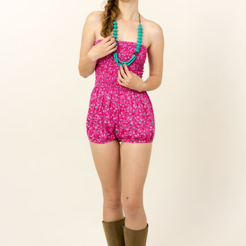 Hot pink floral tube top romper by Pins and Needles