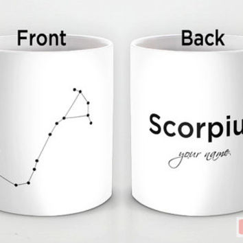 Personalized mug cup designed PinkMugNY - Scorpius Constellation with your name - Zodiac Constellation