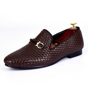 Harpelunde Woven Leather Men Wedding loafers