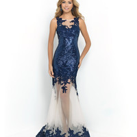 Navy & Nude Lace & Sequin Bodice Sheer Mermaid Gown