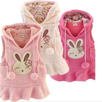 Autumn Winter Children Waistcoat Coral Fleece Long Style Baby Girl Hoodies Coat Cartoon Rabbit Kids Vest Coat Outwear QS225 = 1931961412