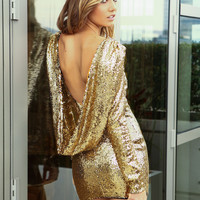 Gold Long Sleeve Sequined Backless Dress - Sheinside.com