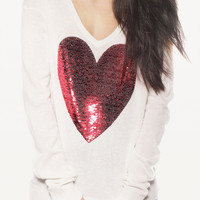 A 072917 Sequined peach heart sweater