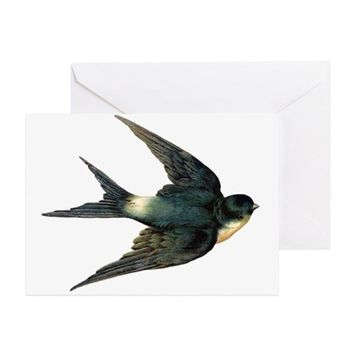 VINTAGE SWALLOW BIRD ART GREETING CARD