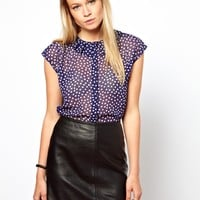 ASOS | ASOS Blouse With Origami Collar In Dotty Print at ASOS