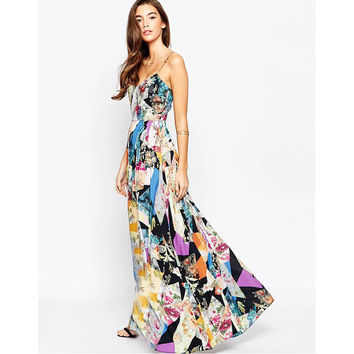 Floral print ruffles chiffon long dress Women strap v neck Boho Vestidos Summer Beach for love Dresses lemon Long Maxi Dresses
