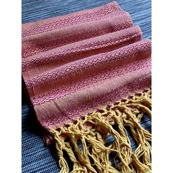 Mexican Rebozo Shawl - Mexican Pink Rose