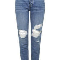 PETITE Ripped Hayden Jeans - Mid Stone