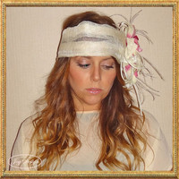 Handmade Dressy Cream Italian Sinamay Linen Headwrap with Pink Silk Orchids Perfect for the Whimsical Romantic or Boho Brides or Bridesmaids